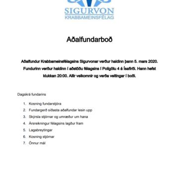 Aðalfundur, 5. mars 2020